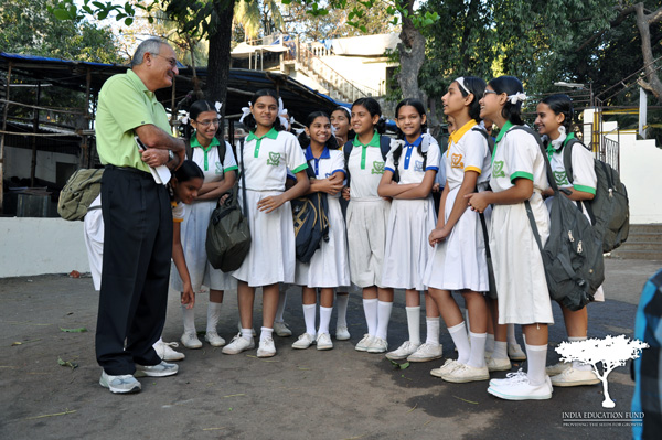 Kamal Daya with a Group of Students in India