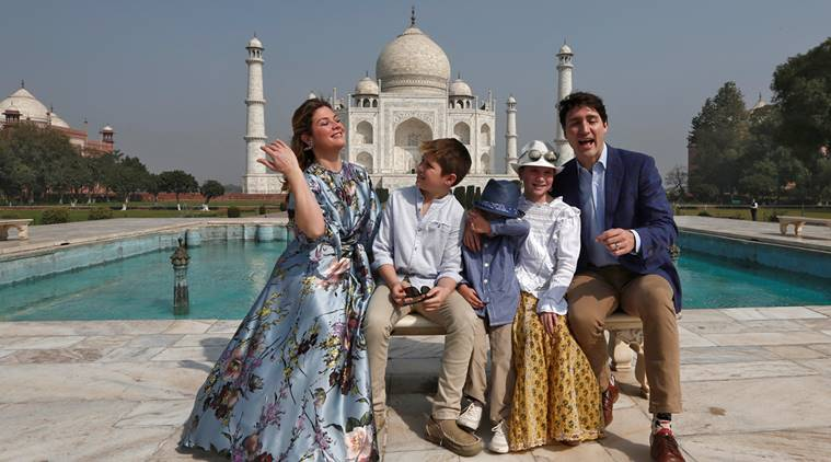 Canadian Prime Minister Justin Trudeau, his wife Sophie Gregoire Trudeau, their daughter Ella Grace and sons Hadrien and Xavier pose in front of the Taj Mahal in Agra